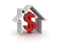 Muestra de la casa y de dólar ilustración del vector