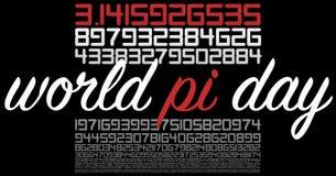 Muestra de la celebración del día del mundo pi en negro Fotos de archivo libres de regalías
