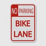 muestra de la muestra del carril de la bici del estacionamiento prohibido del símbolo en fondo transparente libre illustration