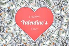 Muestra de la dimensión de una variable del corazón con 100 billetes de banco del dólar fondo del concepto de la tarjeta del día  Fotos de archivo libres de regalías