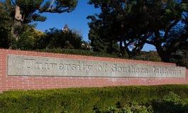 Muestra de la entrada de la Universidad de California del Sur fotos de archivo