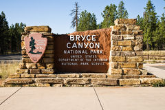 Muestra de la entrada del parque nacional de la barranca de Bryce Fotografía de archivo