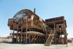 Muestra de la entrada del pueblo fantasma abandonado de Santa Laura Imágenes de archivo libres de regalías
