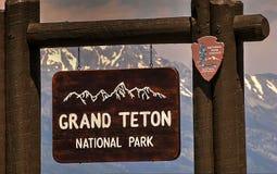 Muestra de la entrada, parque nacional magnífico de Teton, Jackson Hole, Wyoming, los E.E.U.U. foto de archivo libre de regalías