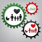 Muestra de la familia con el corazón El marido y la esposa son el ` guardado s Han de los niños ilustración del vector