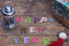 Muestra de la Feliz Año Nuevo de letras coloreadas Imágenes de archivo libres de regalías