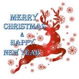 Muestra de la Feliz Navidad, tarjeta de felicitación de la Navidad, con el reno adentro Imágenes de archivo libres de regalías