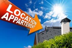 Muestra de la flecha de Appartement de la ubicación (en francés) - Fotografía de archivo libre de regalías