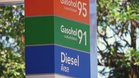 Muestra de la gasolinera con el precio para el combustible almacen de metraje de vídeo