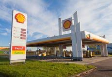 Muestra de la gasolinera de Shell Imágenes de archivo libres de regalías