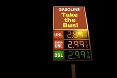 Muestra de la gasolinera que dice   Imagen de archivo libre de regalías