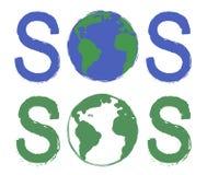 Muestra de la impresión de la pintada del grunge del rasguño el SOS con el planeta Fotografía de archivo