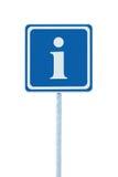 Muestra de la información, azul, icono de la letra del blanco i, marco, primer enmarcado detallado grande aislado de los posts de Imagen de archivo libre de regalías
