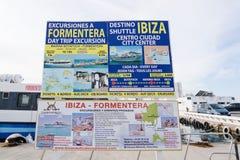 Muestra de la información del transbordador de Formentera Imagen de archivo