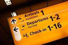 Muestra de la información del aeropuerto Fotografía de archivo libre de regalías