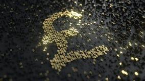 Muestra de la libra esterlina hecha de números del oro Animación conceptual ilustración del vector