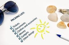 Muestra de la lista de embalaje de las vacaciones Imagen de archivo