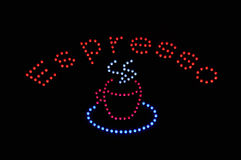Muestra de la luz de neón del café express Fotografía de archivo