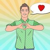 Muestra de la mano de Art Happy Man Showing Heart del estallido Fondo cómico del estilo del amor Imagen de archivo libre de regalías