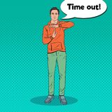 Muestra de la mano de Art Man Gesturing Time Out del estallido stock de ilustración
