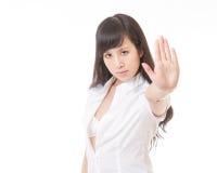 Muestra de la mano de la parada de WomanMaking del chino Foto de archivo