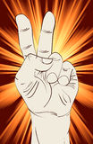 Muestra de la mano de la victoria Imagen de archivo libre de regalías
