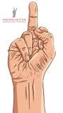 Muestra de la mano del dedo medio, ejemplo detallado del vector Imagen de archivo libre de regalías