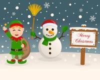 Muestra de la Navidad - muñeco de nieve y duende verde ilustración del vector