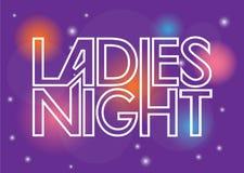 Muestra de la noche de las señoras stock de ilustración