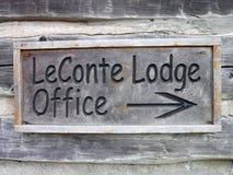 Muestra de la oficina de la casa de campo de LeConte foto de archivo