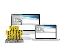 Muestra de la optimización del Search Engine del web de la electrónica ilustración del vector