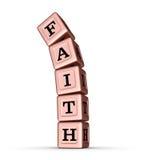 Muestra de la palabra de la fe Pila que cae de Rose Gold Metallic Toy Blocks Imagenes de archivo
