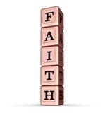 Muestra de la palabra de la fe Pila vertical de Rose Gold Metallic Toy Blocks Imágenes de archivo libres de regalías
