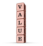 Muestra de la palabra del valor Pila vertical de Rose Gold Metallic Toy Blocks Imagen de archivo libre de regalías