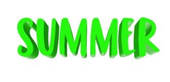 Muestra de la palabra del verano Concepto estacional Texto verde en el fondo blanco stock de ilustración