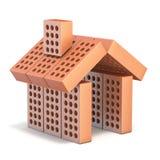 Muestra de la peque?a casa hecha de los ladrillos 3D stock de ilustración