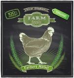 Muestra de la pizarra del mercado fresco de la granja Imagen de archivo libre de regalías