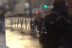Muestra de la pizzería Imágenes de archivo libres de regalías