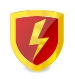 Muestra de la potencia en el color del oro del emblema Foto de archivo libre de regalías
