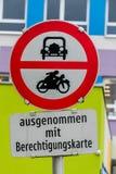 Muestra de la prohibición para el coche y la motocicleta Imagen de archivo libre de regalías