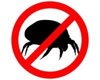 Muestra de la prohibición para los ácaros del polvo de la casa Imagen de archivo