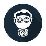 Muestra de la protecci?n del respirador del desgaste del s?mbolo en el fondo negro, ejemplo del vector stock de ilustración