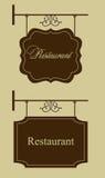 Muestra de la puerta del restaurante Imagen de archivo libre de regalías