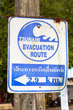 Muestra de la ruta de la evacuación del tsunami Imagen de archivo libre de regalías