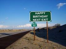 Muestra 30 de la salida de la carretera del feliz cumpleaños Fotografía de archivo
