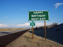 Muestra 72 de la salida de la carretera del feliz cumpleaños Imagen de archivo