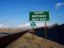 Muestra de la salida de la carretera del feliz cumpleaños 25 años Foto de archivo