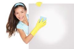 Muestra de la señora de la limpieza Fotografía de archivo libre de regalías