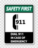muestra de la seguridad primero del símbolo en caso de urgencia en fondo transparente stock de ilustración