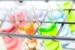 Muestra de la solución en el tubo de cristal Fotografía de archivo libre de regalías